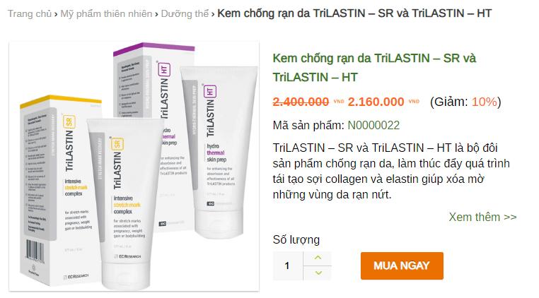 Giá kem trị rạn da TriLastin