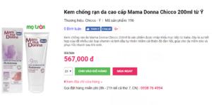 Giá kem chống rạn da Chicco Mama Donna 200ml