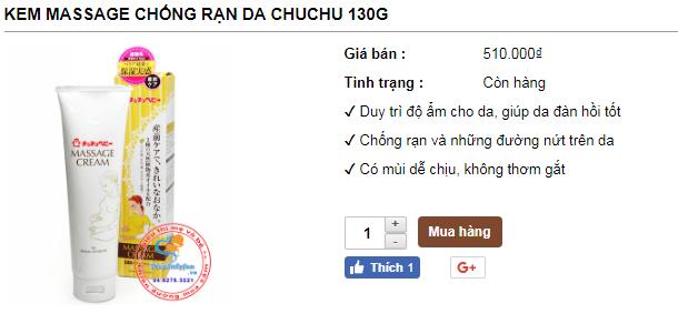 Giá bán kem chống rạn da Chuchu Baby