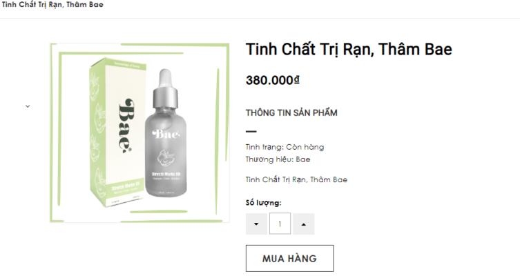 Giá bán tinh chất trị rạn Bae
