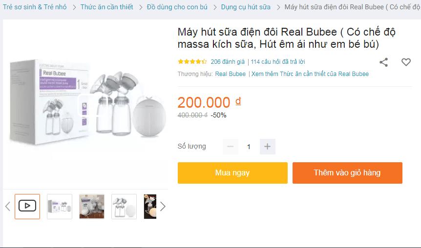 Máy hút sữa điện đôi Real Bubee có giá rất rẻ