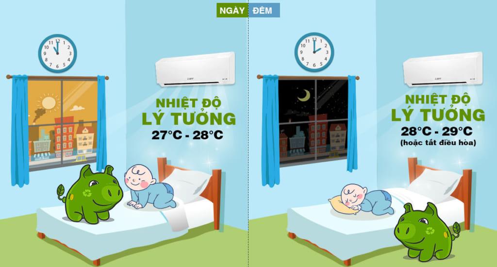Cách sử dụng điều hòa cho trẻ sơ sinh- Nhiệt độ điều hoà luôn giữ ở mức từ 26-28 độ