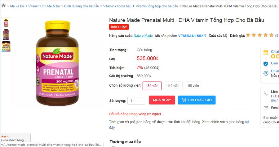 Nature Made Prenatal Multi DHA có tốt không? Giá bao nhiêu? 1