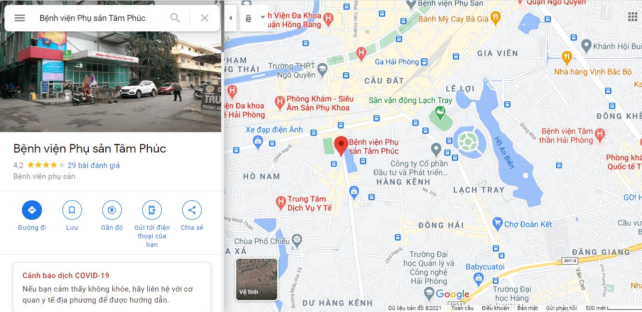 Bản đồ bệnh viện phụ sản Tâm Phúc